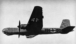 "The fifth prototype He 177, the V5, with Stammkennzeichen code ""PM+OD"" and early cockpit design used on the first eight prototypes."