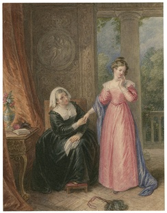 A watercolour of Helena and the Countess, from Act I, Scene iii.