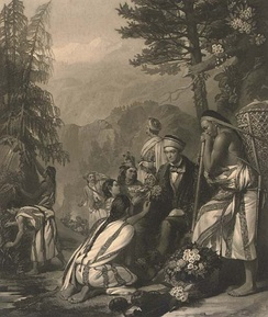 An 1854 illustration showing Hooker with his Lepcha collectors in Sikkim (Mezzotint by William Walker after a painting by Frank Stone)