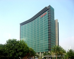 Huawei headquarters in Shenzhen. Huawei is the world's largest telecoms-equipment-maker and the second-largest manufacturer of smartphones in the world.[392]