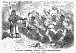 An 1864 cartoon lampooning the Confederacy's deliberating on the use of black soldiers, showing them defecting en masse towards U.S. lines if such proposals were adopted.