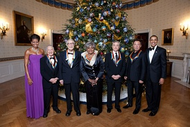 Kennedy Center honorees 2009 Mel Brooks, Dave Brubeck, Grace Bumbry, Robert De Niro, and Bruce Springsteen, with President Barack Obama and First Lady Michelle Obama in the Blue Room, White House, December 6, 2009.