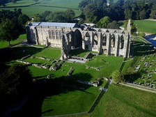 Bolton Abbey in Yorkshire, surviving parochial nave and ruined monastic choir