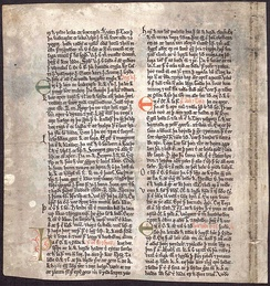 One of the few surviving manuscript leaves from the Heimskringla Sagas, written by Snorri Sturluson c. 1260. The leaf tells of King Ólafur.