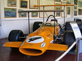 The McLaren M7C with early 1969 high-position wings attached. In the Donington Grand Prix Collection.