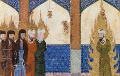 A Persian miniature depicts Muhammad leading Abraham, Moses, Jesus and other prophets in prayer.