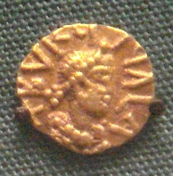 Merovingian tremisses minted in Bordeaux by the Church of Saint-Étienne, late 6th century. British Museum.