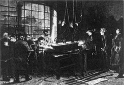 Creating the metre-alloy in 1874 at the Conservatoire des Arts et Métiers. Present Henri Tresca, George Matthey, Saint-Claire Deville and Debray