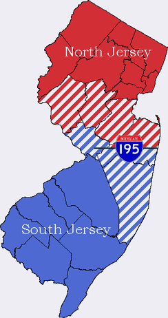 Map of New Jersey with both Two-portion and Three-portion divide