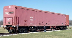 Retired Peacekeeper Rail Garrison Car prototype at the National Museum of the USAF.