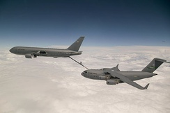 An Air Force KC-46 Pegasus refuels a C-17A Globemaster III
