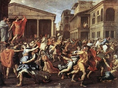 The Rape of the Sabine Women, by Nicolas Poussin, Rome, 1637–38 (Louvre Museum)