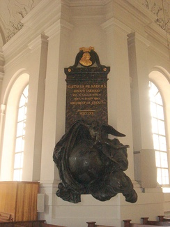 His memorial, erected in the 1720s, in the Adolf Fredriks kyrka