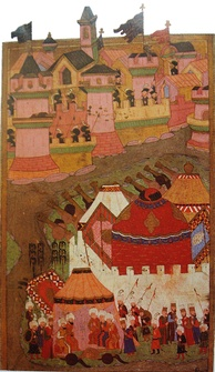 An Ottoman depiction of the siege from the 16th century, housed in the Istanbul Hachette Art Museum