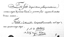 Signatures of the 1787 Treaty of Versailles: Montmorin, Minister of Foreign Affairs and the Navy, and Evèque d'Adran, i.e. Pigneau de Béhaine[19]