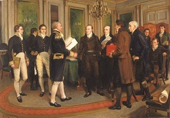1814 signing of the Treaty of Ghent ending the war with the United States; by A. Forestier c. 1915