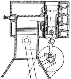 Управление газораспределением поршневым золотником на четырёхтактном двигателе.