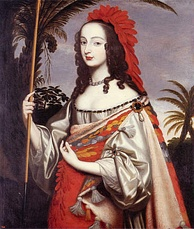 Sophia, dressed as an American Indian. Painted by her sister (circa 1644), Louise Hollandine of the Palatinate