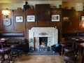 Fire place and dartboard at the Tankard Inn, Rufforth, North Yorkshire