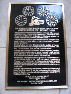 Plaque commemorating the Railway General Time Convention of 1883 in North America