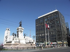 Plaza Sotomayor with monument of the heroes of Iquique