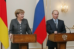 Putin with Chancellor of Germany Angela Merkel in March 2008
