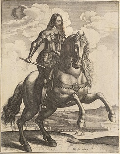 Charles depicted by Wenceslaus Hollar on horseback in front of his troops, 1644
