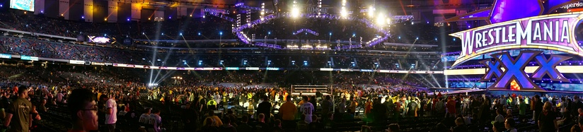 A panorama shot of WrestleMania XXX (pre-show) within the Mercedes-Benz Superdome