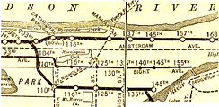 A map of the Lenox Avenue Line from 1906