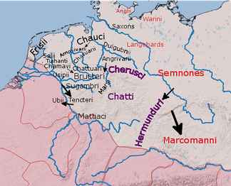 The approximate positions of some Germanic peoples reported by Graeco-Roman authors in the 1st century.