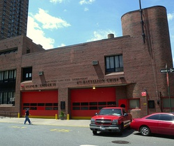 The NYPD 7th Precinct (top) and FDNY Engine Co. 15/Ladder Co. 18/Battalion 4 (bottom) are housed in the same building