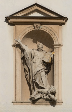 A statue in Vienna portraying Saint Ignatius of Loyola trampling on a heretic