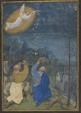 This late 15th-century Flemish miniature shows the annunciation to the shepherds.