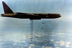 B-52D, AF Ser. No. 55-0100, of McCoy AFB's 306th Bomb Wing while deployed to Southeast Asia. In 1972, it was one of the three final aircraft to bomb North Vietnam during Operation Linebacker II.