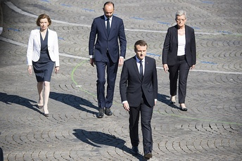 Macron walking with Florence Parly, Édouard Philippe and Geneviève Darrieussecq, July 2017