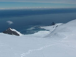 Bransfield Strait from Tangra Mountains, Livingston Island; Antarctic Peninsula in the background