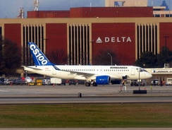 The CSeries CS100 demonstrated for Delta Air Lines in Atlanta
