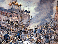 Plague Riot in Moscow in 1771: during the course of the city's plague, between 50,000 and 100,000 people died, 17–33% of its population.