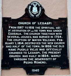 WWII bullet holes visible on the marker of Church of St. Raphael, Legazpi, Albay.