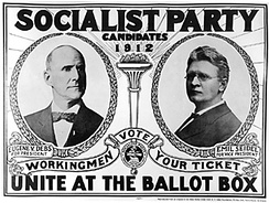 Eugene V. Debs (left) of the Socialist Party of America ran in five U.S. presidential elections between 1900 and 1920.