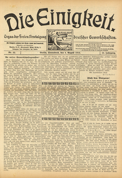 August 1914 edition of Die Einigkeit, a German syndicalist newspaper, protesting the outbreak of war