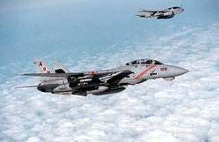 Two US Navy aircraft – an F-14B Tomcat of VF-102 (foreground) and an EA-6B Prowler of VAQ-137 – over Iraq during January 1998.