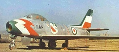 An F-86 Sabre from the Golden Crown aerobatic display team, of the Imperial Iranian Air Force.