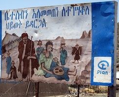 Placard showing negative effects of lack of family planning and having too many children and infants (Ethiopia)