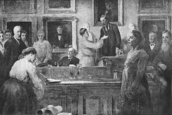 The first admission of women as fellows of the society in 1905, Emma Louisa Turner is on the far left, Lilian J. Veley is shown signing the membership book, whilst Lady Crisp receives the 'hand of Fellowship' from the president, William Abbott Herdman - from a painting by James Sant (1820–1916)