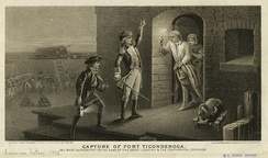 An engraving depicting Ethan Allen demanding the surrender of Fort Ticonderoga.