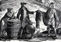 Fur traders in Canada, trading with Native Americans, 1777
