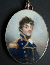 George Stewart as a post-captain. Watercolour on ivory by Anne Mee.