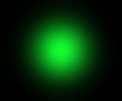 A 5 mW green laser pointer beam profile, showing the TEM00 profile.