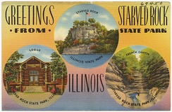 Postcard from the 1930s or 1940s showing various locations in the park.